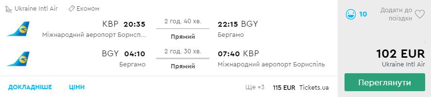 Київ - Мілан (Бергамо) - Київ