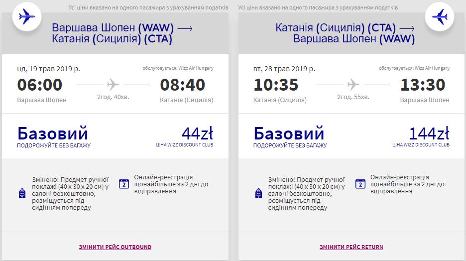 Варшава - Катанія - Варшава