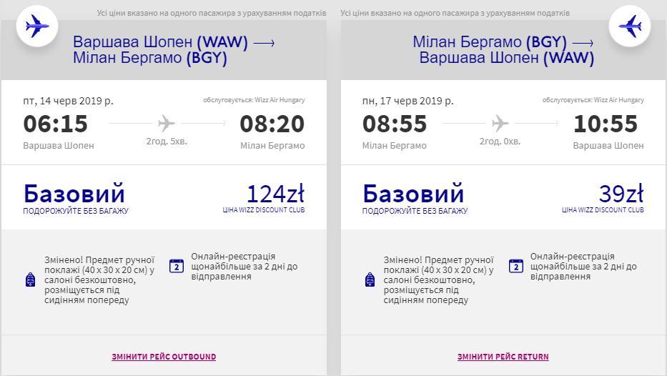 Варшава - Мілан - Варшава