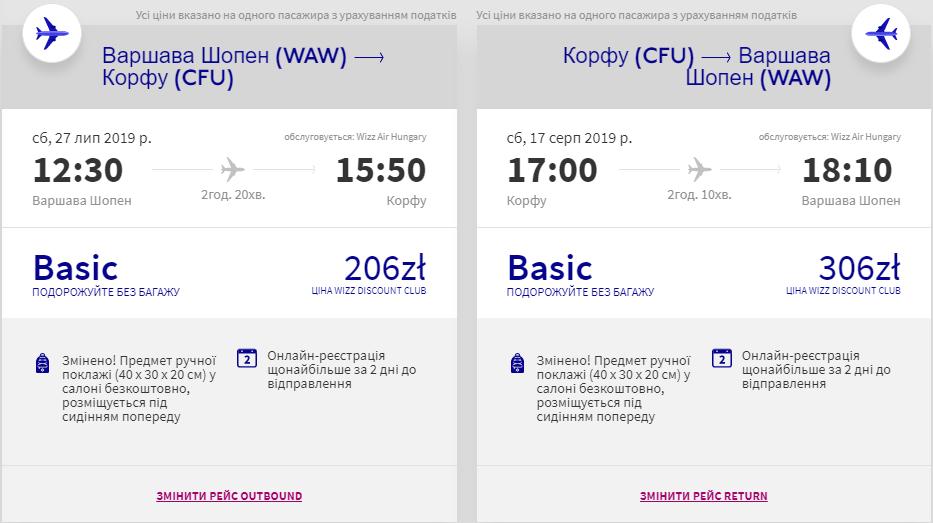 Варшава - Корфу - Варшава