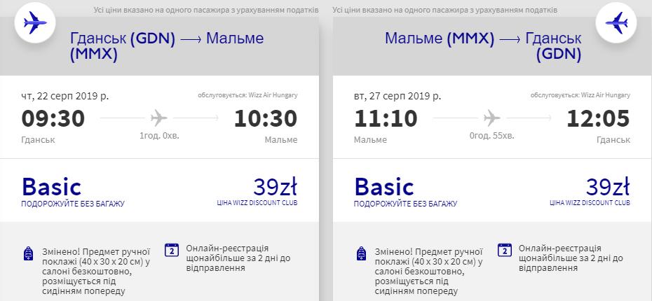 Гданськ - Мальме - Гданськ