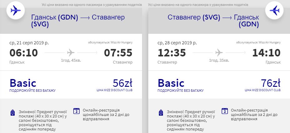 Гданськ - Ставангер - Гданськ