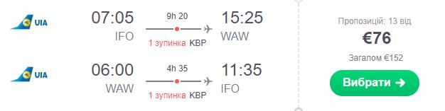 Івано-Франківськ – Варшава – Івано-Франківськ