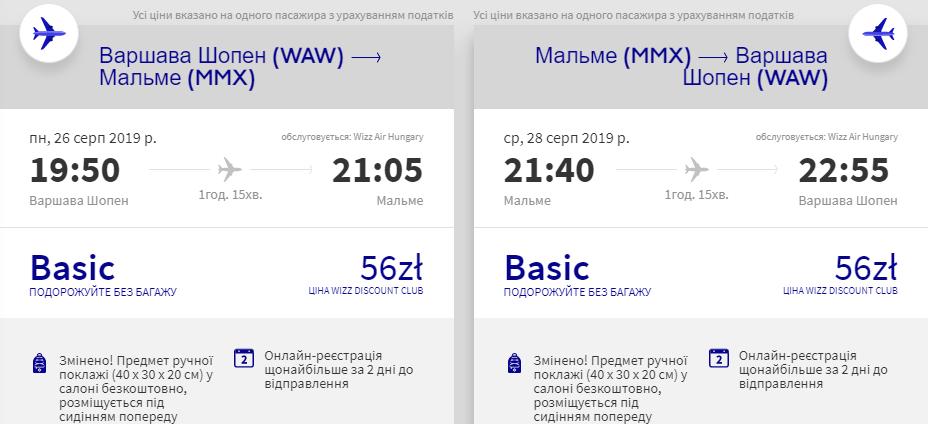 Варшава - Мальме - Варшава