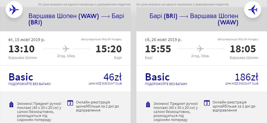 Варшава - Барі - Варшава