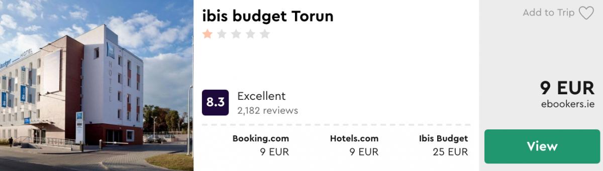 дешеві готелі в Торуню