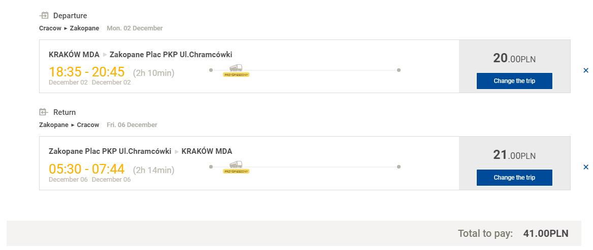 Краків - Закопане - Краків (автобус) для подорожі з Одеси, ціна на 1 особу >>