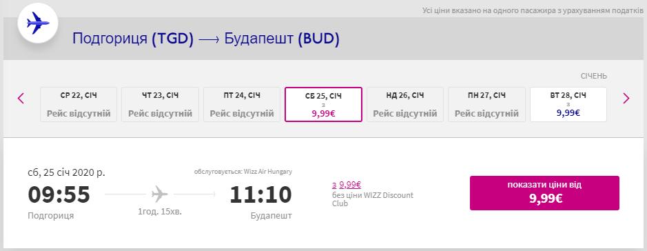 Подгориця - Будапешт >>