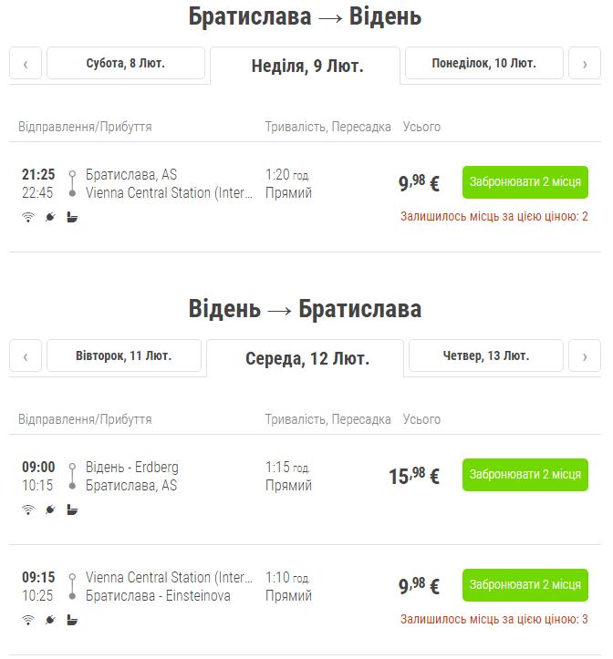 Братислава – Відень – Братислава (автобус) >>
