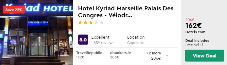 Hotel Kyriad Marseille Palais Des Congres - Vélodr...