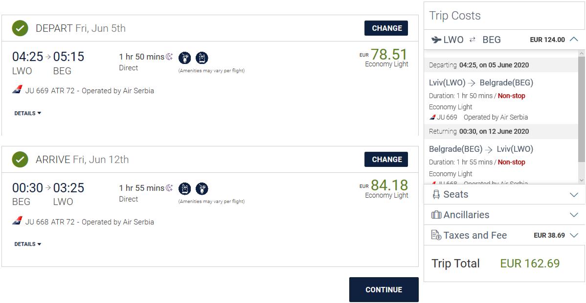 Рейси Air Serbia