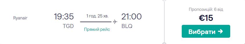 Подгориця - Болонья