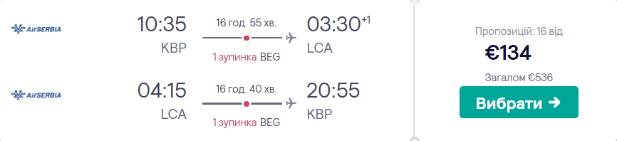 Київ - Ларнака - Київ >>