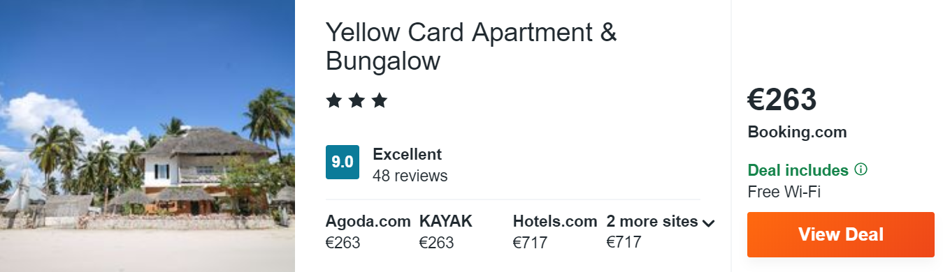 Yellow Card Apartment & Bungalow